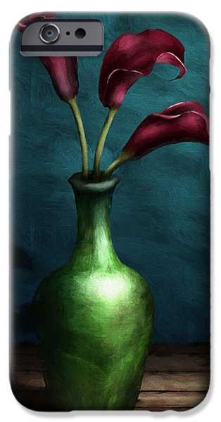 Chiaroscuro iPhone Cases - Calla Lilies I iPhone Case by April Moen