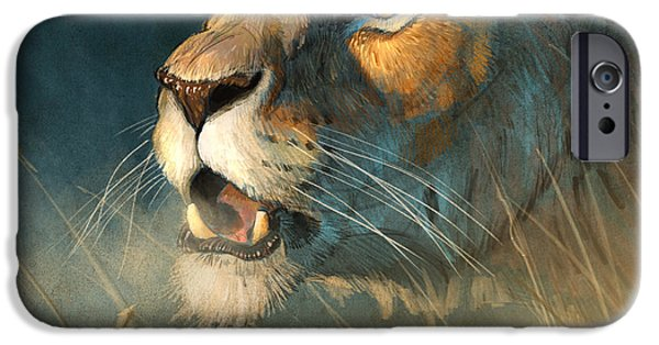 Lion Art iPhone Cases - Calling for her mate iPhone Case by Aaron Blaise