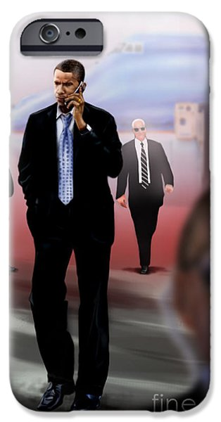 President Obama iPhone Cases - Calling In Hit Markers-Smooth Operator 1 iPhone Case by Reggie Duffie