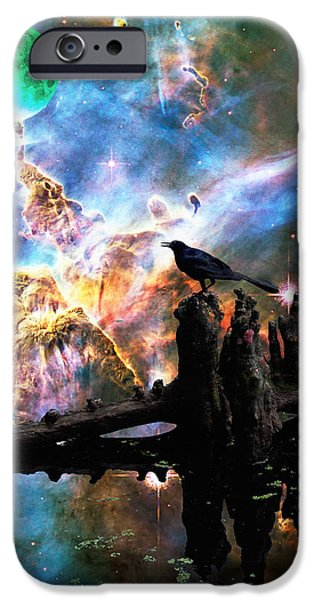 Dreamscape iPhone Cases - Calling The Night - Crow Art By Sharon Cummings iPhone Case by Sharon Cummings
