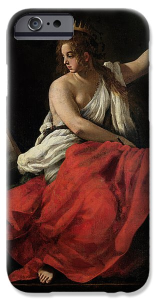 Poet iPhone Cases - Calliope, Muse Of Epic Poetry Oil On Canvas iPhone Case by Giovanni Baglione
