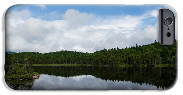 Turbulent Skies iPhone Cases - Calm Lake - Turbulent Sky iPhone Case by Georgia Mizuleva