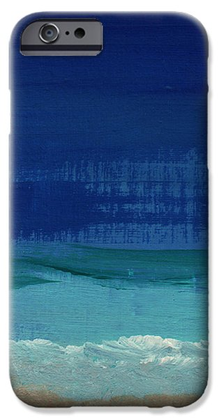 Abstracted Mixed Media iPhone Cases - Calm Waters- Abstract Landscape Painting iPhone Case by Linda Woods
