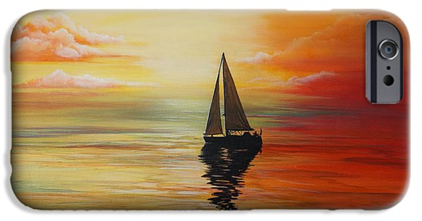 Sailboats iPhone Cases - Calm Sailing iPhone Case by Merrin Jeff