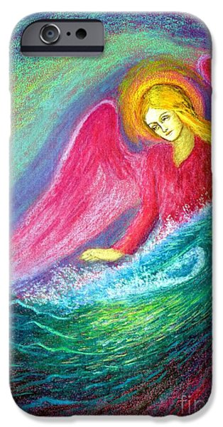 Colorful Paintings iPhone Cases - Calming Angel iPhone Case by Jane Small
