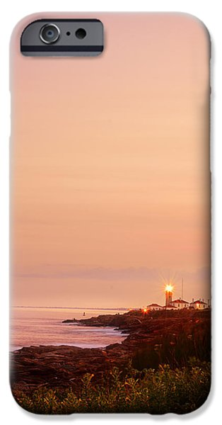 Ocean Sunset iPhone Cases - Calming Visual- Beavertail Lighthouse Art iPhone Case by Lourry Legarde