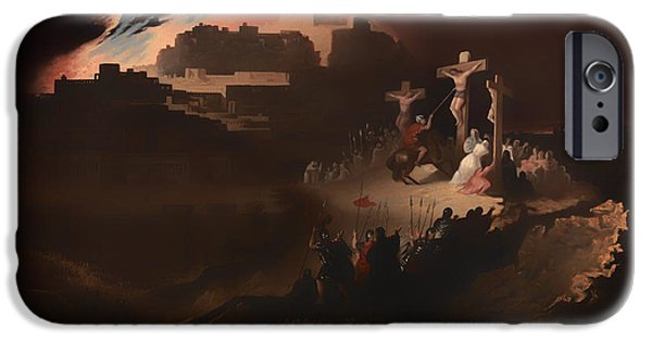 Dark Skies Paintings iPhone Cases - Calvary iPhone Case by John Martin