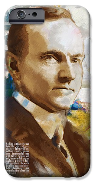 Thomas Jefferson Paintings iPhone Cases - Calvin Coolidge iPhone Case by Corporate Art Task Force