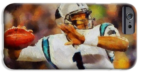 Charlotte iPhone Cases - Cam Newton iPhone Case by Dan Sproul