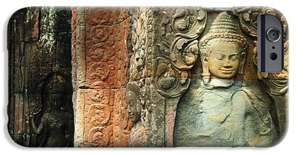 Stone Carving iPhone Cases - Cambodia Angkor Wat 1 iPhone Case by Bob Christopher