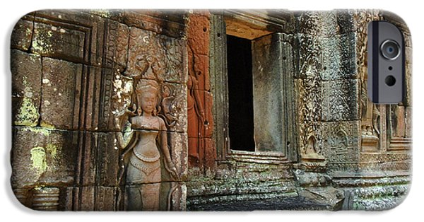 Stone Carving iPhone Cases - Cambodia Angkor Wat 2 iPhone Case by Bob Christopher