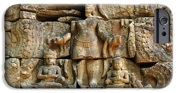 Stone Carving iPhone Cases - Cambodia Angkor Wat 3 iPhone Case by Bob Christopher