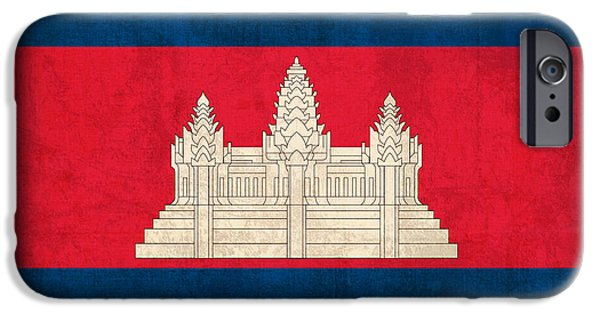 Recently Sold -  - Nation iPhone Cases - Cambodia Flag Vintage Distressed Finish iPhone Case by Design Turnpike