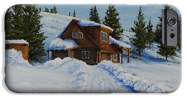 Bob Ross Paintings iPhone Cases - Cambridge Cabin iPhone Case by C Steele
