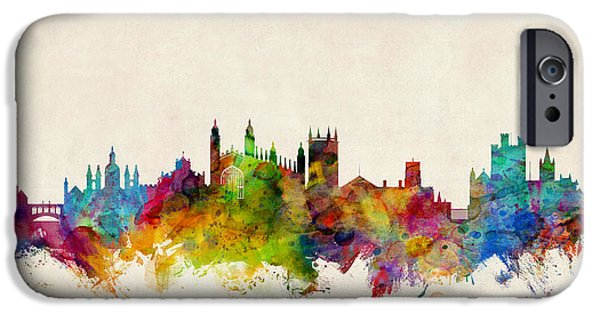 Britain iPhone Cases - Cambridge England Skyline iPhone Case by Michael Tompsett