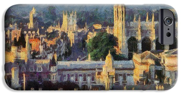 Cambridge Paintings iPhone Cases - Cambridge panorama iPhone Case by Georgi Dimitrov