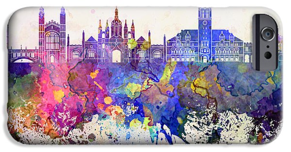 Cambridge Paintings iPhone Cases - Cambridge skyline in watercolor background iPhone Case by Pablo Romero