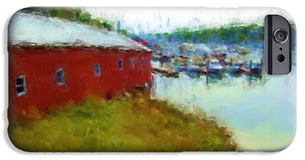 Maine Landscapes Pastels iPhone Cases - Camden Boat House 1037 20140927 iPhone Case by Julie Knapp
