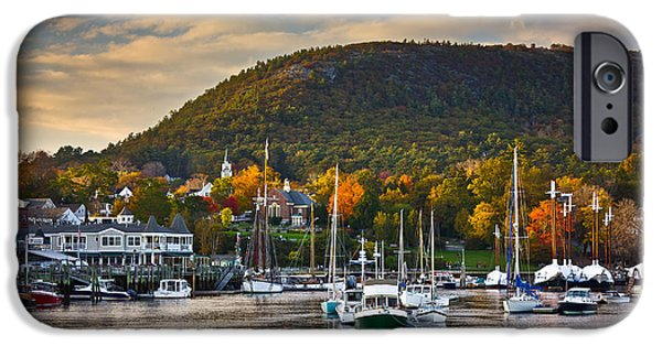 Maine Mountains iPhone Cases - Camden Harbor in the Fall iPhone Case by Benjamin Williamson