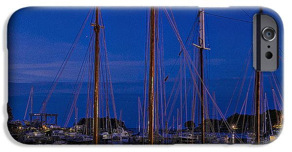 Windjammer iPhone Cases - Camden Harbor Maine at 4AM iPhone Case by Marty Saccone