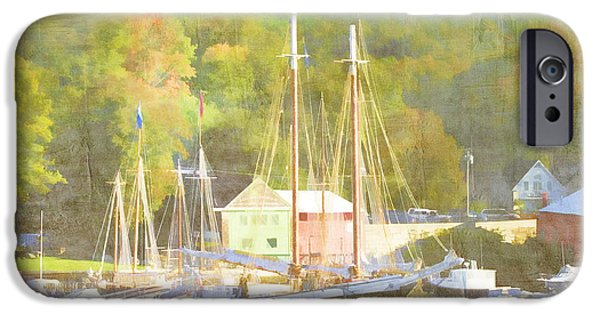 Warm Digital Art iPhone Cases - Camden Harbor Maine iPhone Case by Carol Leigh