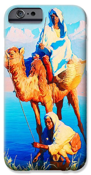 Sahara Sunlight iPhone Cases - Camel driver iPhone Case by Celestial Images
