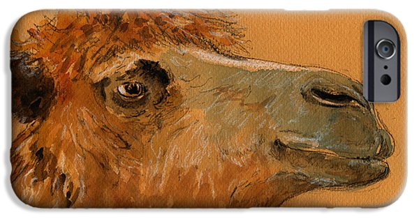 Original Watercolor iPhone Cases - Camel head study iPhone Case by Juan  Bosco