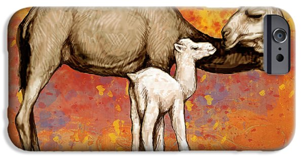 Charcoal Mixed Media iPhone Cases - Camel Stylised Pop Art Drawing Potrait Poser iPhone Case by Kim Wang