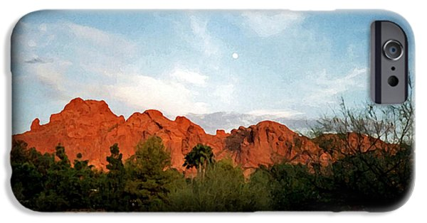 Recently Sold -  - Red Rock iPhone Cases - Camelback Mountain and Moon iPhone Case by Connie Fox