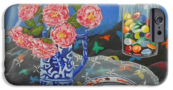 Carolinestreetart iPhone Cases - Camellias with Glass Beads iPhone Case by Caroline Street