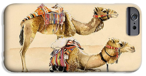 Landscapes Drawings iPhone Cases - Camels from Petra iPhone Case by Alison Cooper