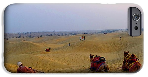 Racing iPhone Cases - Camels Kneeling Sand Dunes Thar Desert Rajasthan India iPhone Case by Sue Jacobi Photography