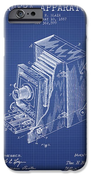 Camera iPhone Cases - Camera Apparatus Patent from 1887 - Blueprint iPhone Case by Aged Pixel