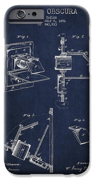 Film Camera iPhone Cases - Camera Obscura Patent Drawing From 1881 iPhone Case by Aged Pixel