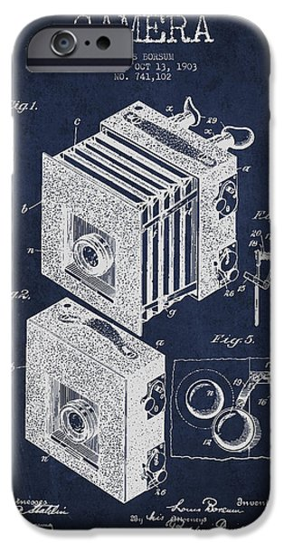 Camera iPhone Cases - Camera Patent Drawing from 1903 iPhone Case by Aged Pixel