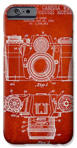 Camera iPhone Cases - Camera Patent Drawing From 1962 iPhone Case by Aged Pixel