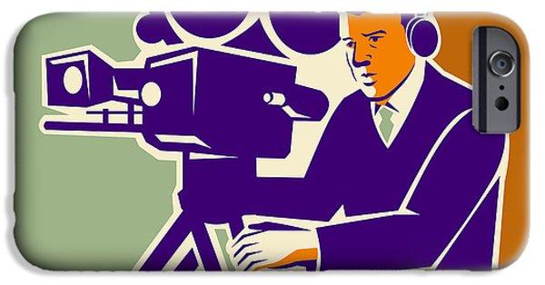 Film Maker iPhone Cases - Cameraman Film Crew Vintage Video Movie Camera iPhone Case by Retro Vectors