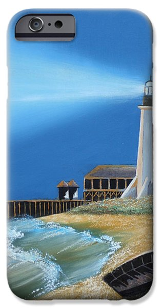 Lighthouse Pastels iPhone Cases - Cameron Lighthouse iPhone Case by Daniel Barrilleaux