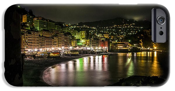Village iPhone Cases - Camogli by night iPhone Case by Stefano Piccini