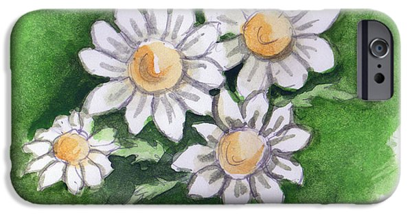 Llmartin iPhone Cases - Camomile Flowers iPhone Case by Linda L Martin