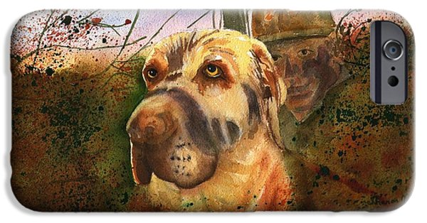 Dog In Landscape iPhone Cases - Camouflaged Hunters iPhone Case by Sharon Mick