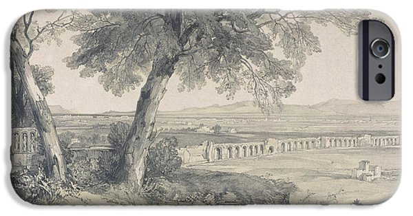 Ruin Drawings iPhone Cases - Campagna of Rome from Villa Mattei iPhone Case by Edward Lear
