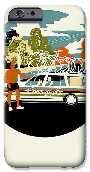 Contemporary Art Drawings iPhone Cases - Campagnolo Team Car iPhone Case by Eliza Southwood