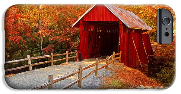 Fall iPhone Cases - Autumn at Campbells Covered Bridge iPhone Case by Johan Hakansson