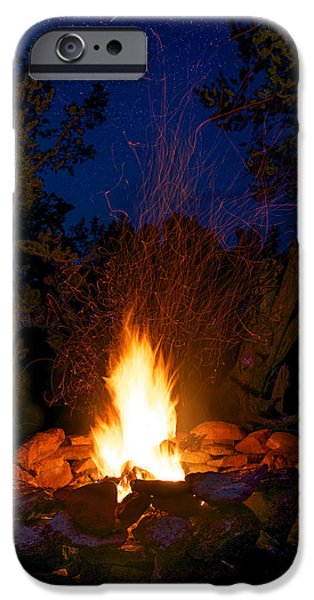 Colorado Fires iPhone Cases - Campfire Under the Stars iPhone Case by Aaron Spong