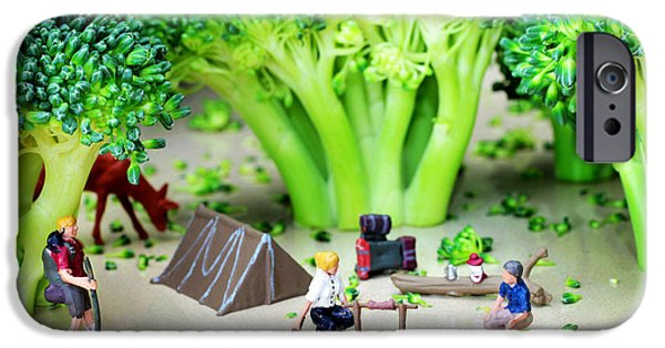 Recently Sold -  - Small iPhone Cases - Camping among broccoli jungles miniature art iPhone Case by Paul Ge