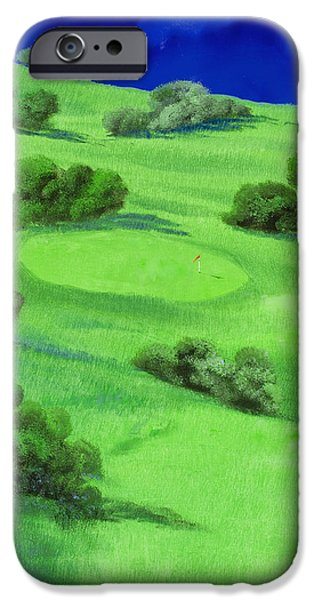 Golf Course iPhone Cases - Campo Da Golf Di Notte iPhone Case by Guido Borelli