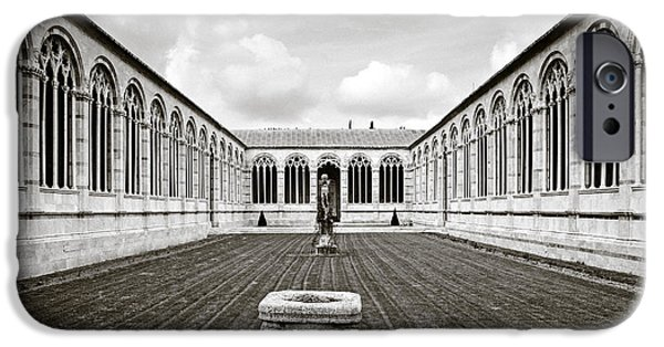 Cemetary iPhone Cases - Camposanto Monumentale in Sepia iPhone Case by Susan  Schmitz