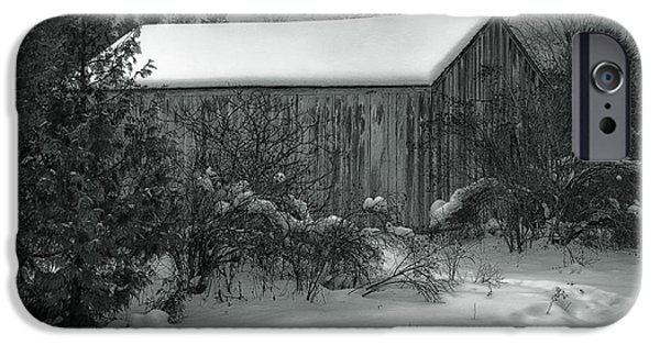 Winter Storm iPhone Cases - Cana Island Barn iPhone Case by Joan Carroll