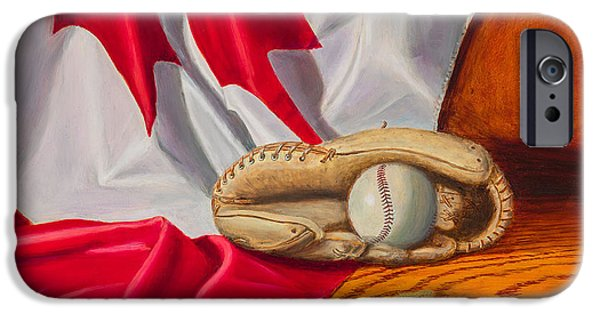 Baseball Glove Paintings iPhone Cases - Canada Baseball iPhone Case by Gary  Faulkner